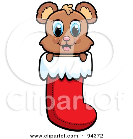 Royalty-Free (RF) Clipart Illustration of a Cute Baby Bear Peeping Out Of A Christmas Stocking by Cory Thoman