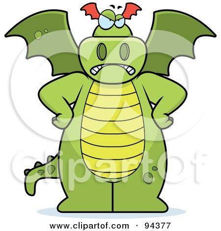 Royalty-Free (RF) Clipart Illustration of a Big Green Dragon Standing With His Hands On His Hips by Cory Thoman