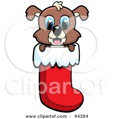 Royalty-Free (RF) Clipart Illustration of a Cute Puppy Dog Peeping Out Of A Christmas Stocking by Cory Thoman
