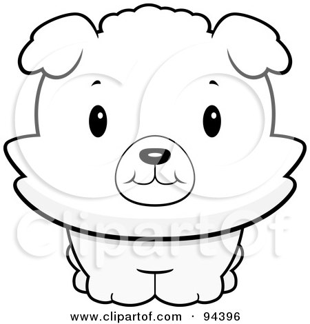Royalty-Free (RF) Clipart Illustration of a Baby Bichon Puppy Smiling Upwards by Cory Thoman