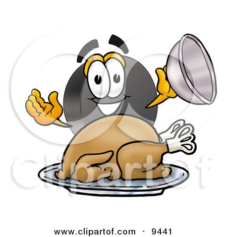 Clipart Picture of a Hockey Puck Mascot Cartoon Character Serving a Thanksgiving Turkey on a Platter by Toons4Biz
