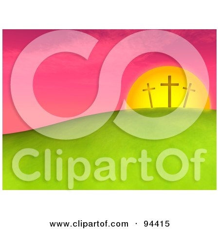 Royalty-Free (RF) Clipart Illustration of Three 3d Easter Crosses Against a Pink Sunset on a Hill by ShazamImages