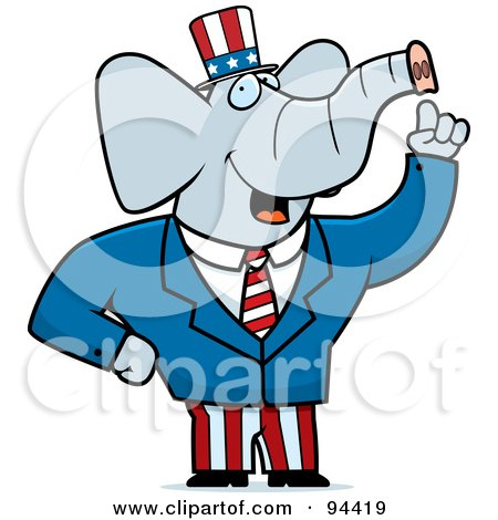 Royalty-Free (RF) Clipart Illustration of an American Elephant Politician by Cory Thoman