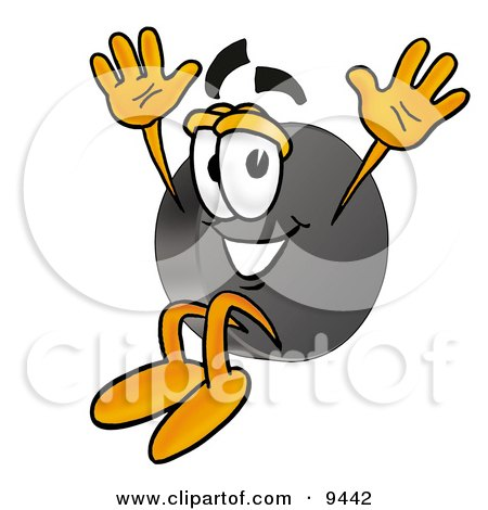 Clipart Picture of a Hockey Puck Mascot Cartoon Character Jumping by Toons4Biz