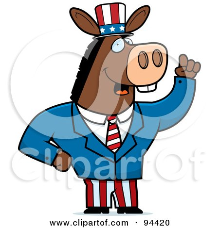 Royalty-Free (RF) Clipart Illustration of an American Donkey Politician by Cory Thoman