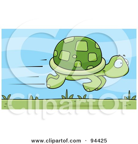 Royalty-Free (RF) Clipart Illustration of a Fast Tortoise Speeding By by Cory Thoman