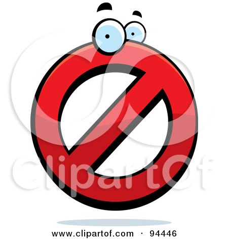Royalty-Free (RF) Clipart Illustration of a Red Prohibited Symbol Character by Cory Thoman