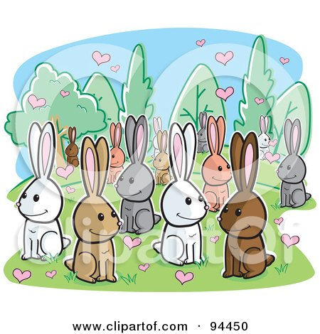 Royalty-Free (RF) Clipart Illustration of a Crowd Of Amorous Rabbits With Hearts by Cory Thoman