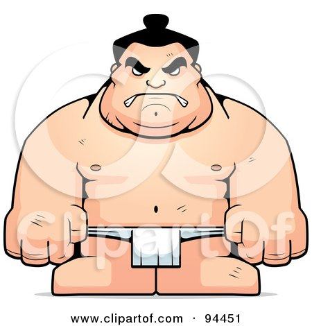Royalty-Free (RF) Clipart Illustration of a Hulky Sumo Wrestler by Cory Thoman