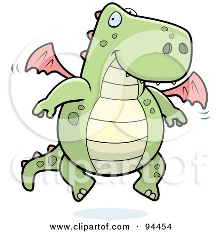 Royalty-Free (RF) Clipart Illustration of a Happy Green And Pink Dragon Fluttering His Little Wings by Cory Thoman