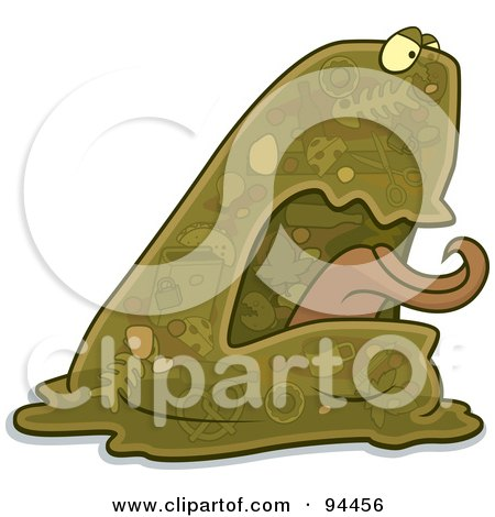 Royalty-Free (RF) Clipart Illustration of a Green Garbage Blob Monster by Cory Thoman