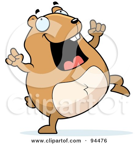 Royalty-Free (RF) Clipart Illustration of a Plump Hamster Doing A Happy Dance by Cory Thoman
