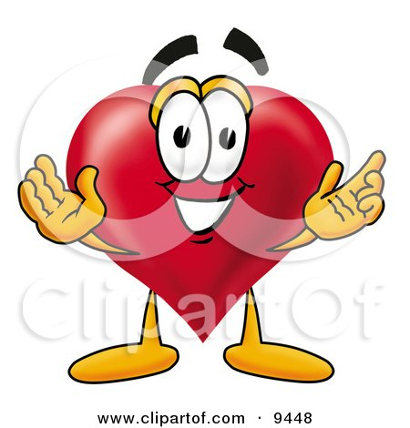 Clipart Picture of a Love Heart Mascot Cartoon Character With Welcoming Open Arms by Toons4Biz