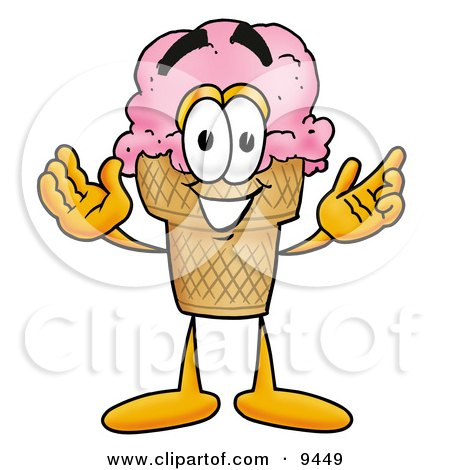 Ice Cream Cone Mascot Cartoon Character With Welcoming Open Arms Posters, Art Prints