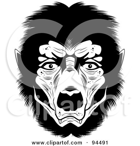 Royalty-Free (RF) Clipart Illustration of a Black And White Werewolf Face by Cory Thoman