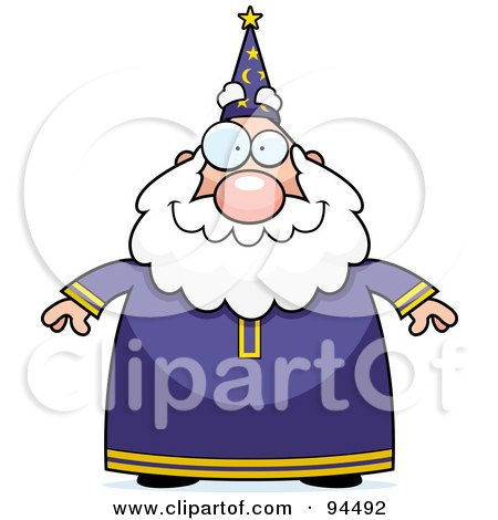 Royalty-Free (RF) Clipart Illustration of a Plump Old Wizard Facing Front by Cory Thoman
