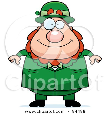 Royalty-Free (RF) Clipart Illustration of a Plump Leprechaun Man Facing Front by Cory Thoman