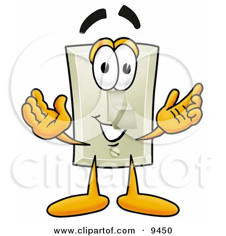 Clipart Picture of a Light Switch Mascot Cartoon Character With Welcoming Open Arms by Toons4Biz