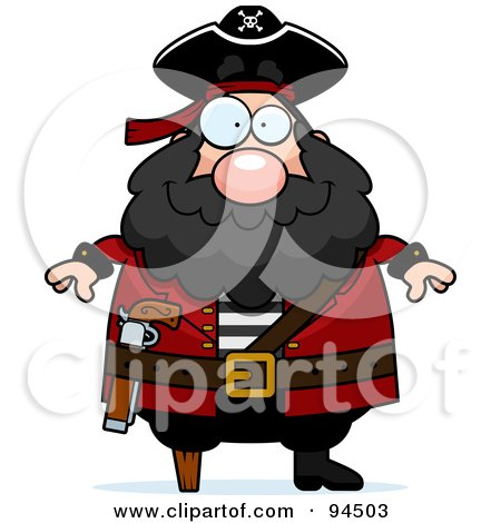 Royalty-Free (RF) Clipart Illustration of a Plump Peg Legged Pirate by Cory Thoman