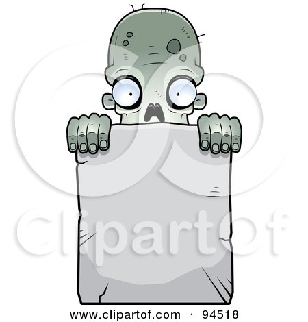 Royalty-Free (RF) Clipart Illustration of a Zombie Peering Over A Blank Stone Sign by Cory Thoman