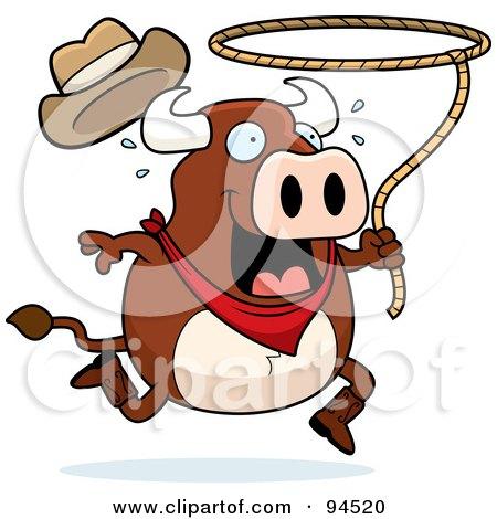 Rodeo Bull Swinging A Lasso Posters, Art Prints