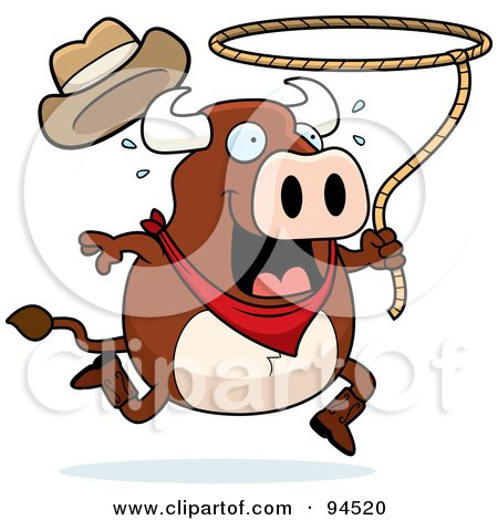 Royalty-Free (RF) Clipart Illustration of a Rodeo Bull Swinging A Lasso by Cory Thoman