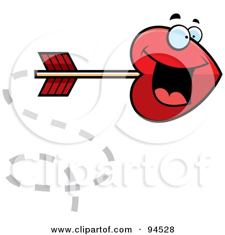 Royalty-Free (RF) Clipart Illustration of a Shooting Red Heart Cupid Arrow by Cory Thoman