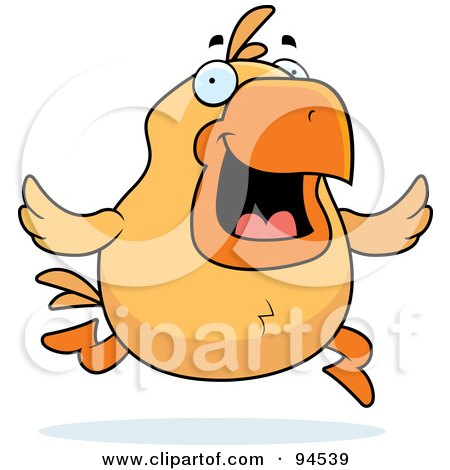 Royalty-Free (RF) Clipart Illustration of a Running Yellow Chicken by Cory Thoman