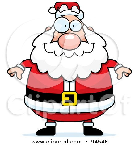 Royalty-Free (RF) Clipart Illustration of a Plump Santa Standing Front by Cory Thoman