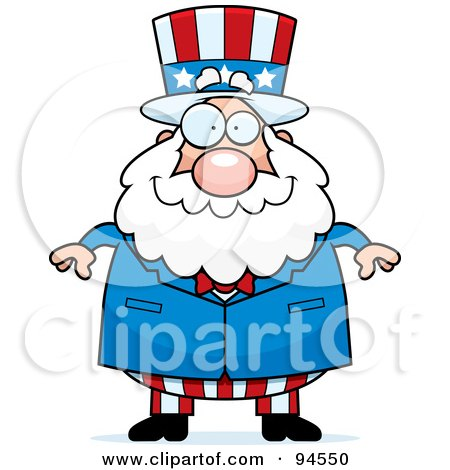 Royalty-Free (RF) Clipart Illustration of a Plump Uncle Sam Standing Forward by Cory Thoman