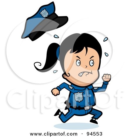 Royalty-Free (RF) Clipart Illustration of a Running Police Girl by Cory Thoman