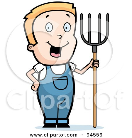 Royalty-Free (RF) Clipart Illustration of a Blond Farmer Boy With A Pitchfork by Cory Thoman