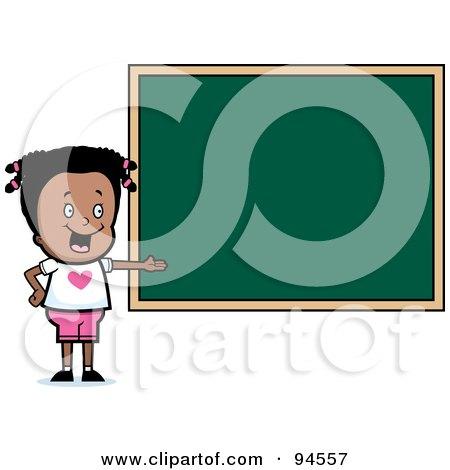 Royalty-Free (RF) Clipart Illustration of a Black School Girl Presenting A Blank Chalkboard by Cory Thoman