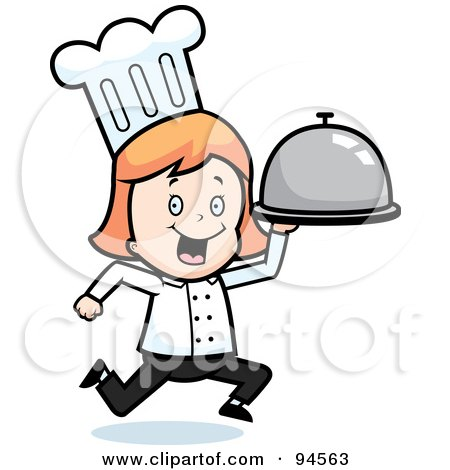 Royalty-free clipart picture of a chef girl running with a platter,