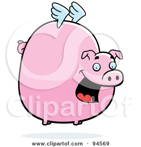 Royalty-Free (RF) Clipart Illustration of a Fat Flying Pig With Little White Wings by Cory Thoman