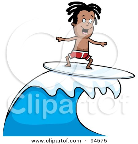 Dark Skinned Surfer Dude Riding A Wave Posters, Art Prints
