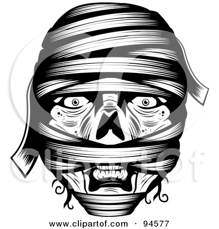 Black And White Wrapped Mummy Face Posters, Art Prints