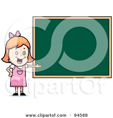 Royalty-Free (RF) Clipart Illustration of a White School Girl Presenting A Blank Chalkboard by Cory Thoman