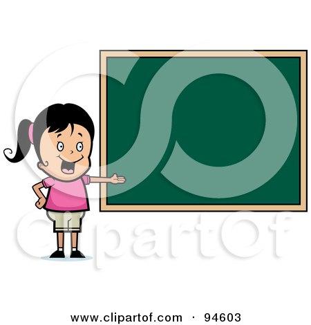 Royalty-Free (RF) Clipart Illustration of a Friendly School Girl Presenting A Chalk Board by Cory Thoman