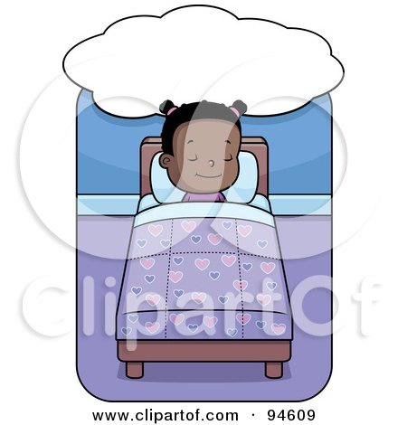 Royalty-Free (RF) Clipart Illustration of a Cute Little Black Girl Sleeping And Dreaming In Bed by Cory Thoman