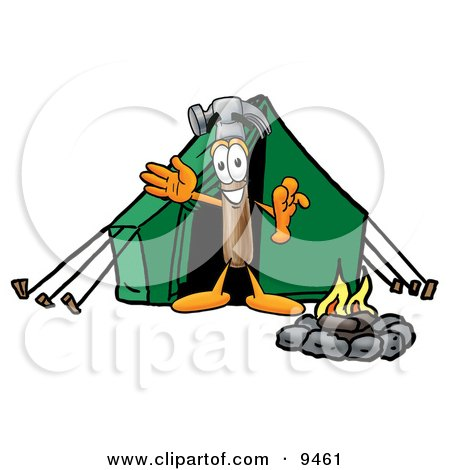 Hammer Mascot Cartoon Character Camping With a Tent and Fire Posters, Art Prints