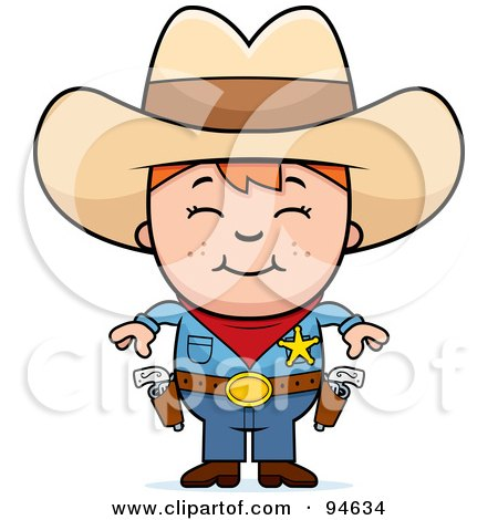 Royalty-Free (RF) Clipart Illustration of a Little Sheriff Boy Ready To Draw His Guns by Cory Thoman