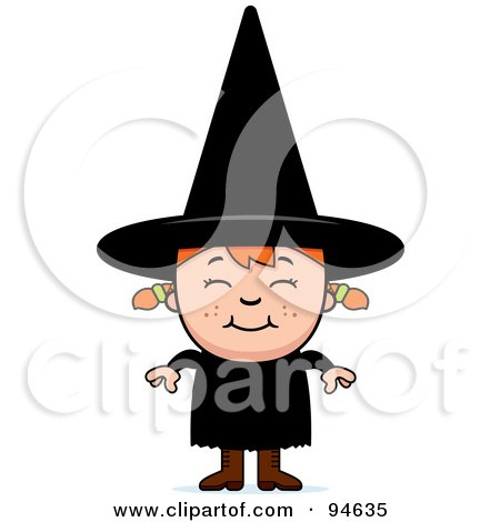 Royalty-Free (RF) Clipart Illustration of a Little Witch Girl With Red Hair by Cory Thoman