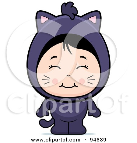 Royalty-Free (RF) Clipart Illustration of a Cute Asian Girl In A Cat Costume by Cory Thoman