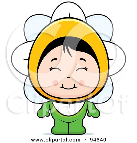 Royalty-Free (RF) Clipart Illustration of a Cute Asian Girl In A Flower Costume by Cory Thoman