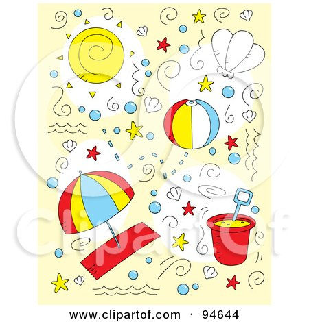 Royalty-Free (RF) Clipart Illustration of a Collage Of Doodled Summer And Beach Items by Cory Thoman