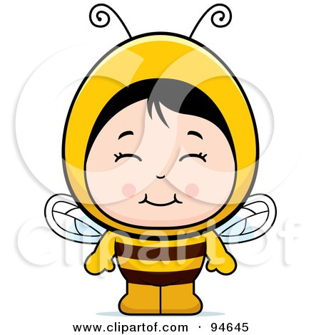 Royalty-Free (RF) Clipart Illustration of a Cute Asian Girl In A Bee Costume by Cory Thoman