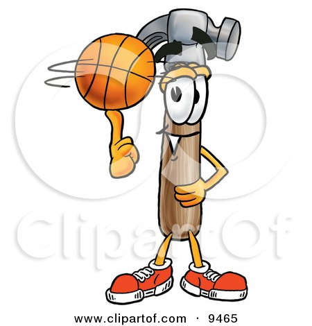 Clipart Picture of a Hammer Mascot Cartoon Character Spinning a Basketball on His Finger by Toons4Biz