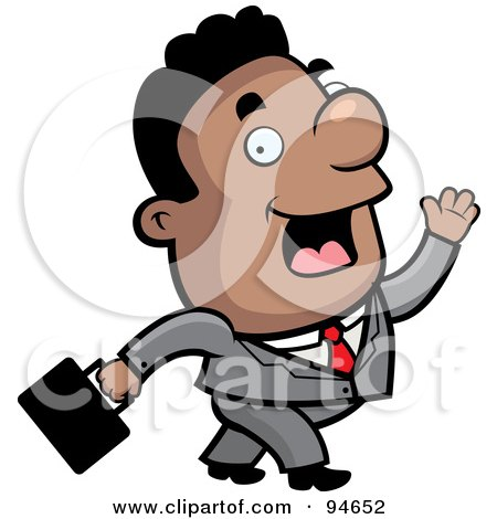Royalty-Free (RF) Clipart Illustration of a Walking Black Businessman Waving While Passing by Cory Thoman