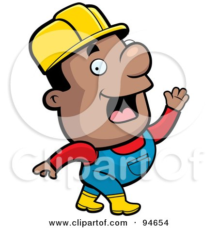 Royalty-Free (RF) Clipart Illustration of a Waving Black Construction Guy by Cory Thoman